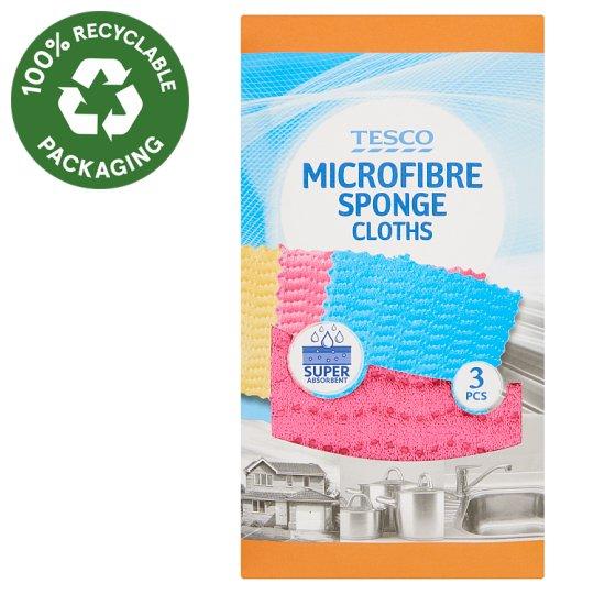 Tesco Microfibre Sponge Cloths 3 pcs
