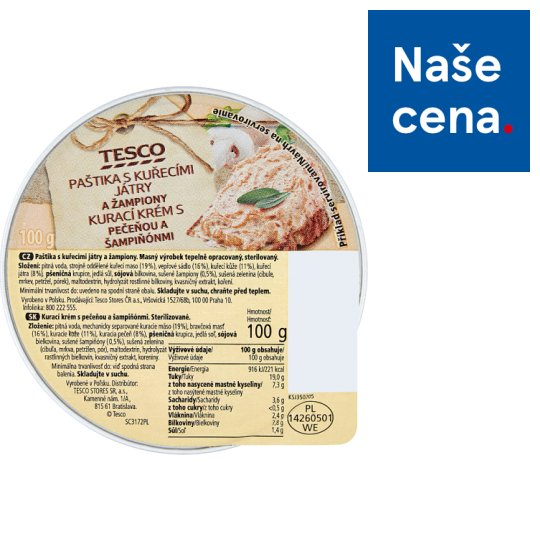 Tesco Pate with Chicken Kidneys and Champignons 100g