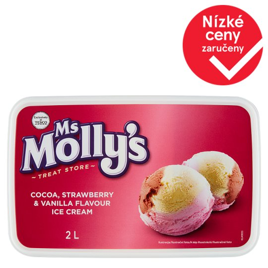 Ms Molly's Cocoa Strawberry & Vanilla Flavour Ice Cream 2l