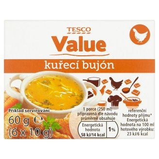 Tesco Value Chicken Broth 6 x 10g