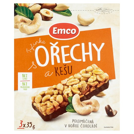 Emco Bar with Nuts and Cashews Half-Dipped in Dark Chocolate 3 x 35g