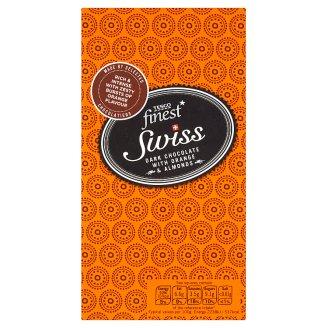 Tesco Finest Hořká čokoláda s kousky s pomerančovou příchutí, kousky mandlí a lískovými oříšky 100g