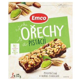 Emco Bar with Nuts and Pistachios Half-Dipped in Dark Chocolate 3 x 35g