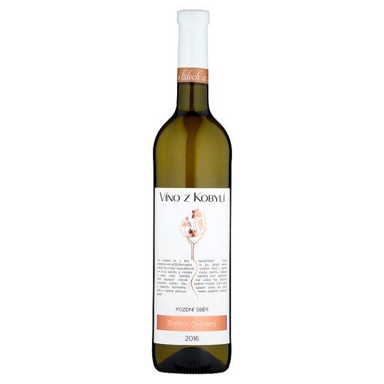 Víno z Kobylí Tramín červený víno s přívlastkem pozdní sběr polosuché 0,75l