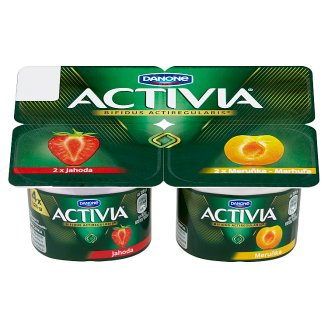 Danone Activia Yogurt with Bifidoculture Strawberry/Apricot 4 x 120g
