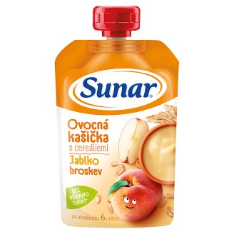 Sunárek Mash with Cereals Apples and Peaches 120g