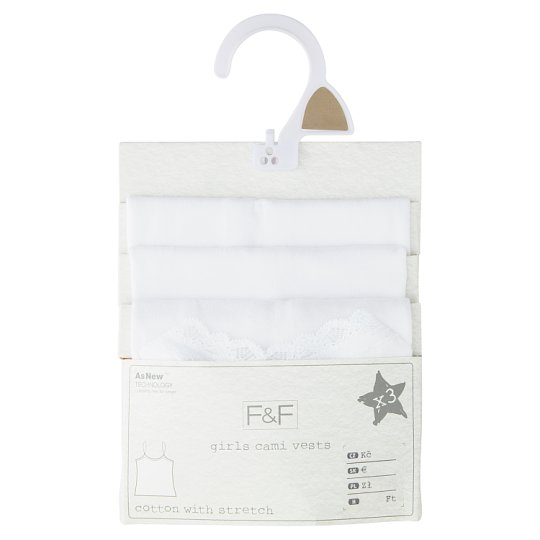 image 1 of F&F Girls' White Undershirt 3 pcs in Pack, 10-11 Years, White