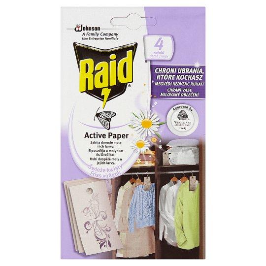 Raid Active Paper Against Moth Active Hanger Fresh Flowers 4 pcs