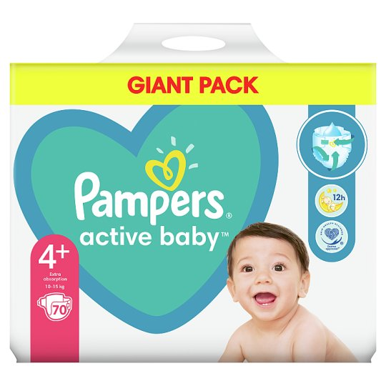 Pampers Diapers Size 4+, 70 Nappies, 10-15 kg