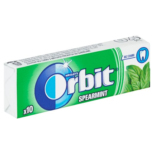 Wrigley's Orbit Spearmint Sugar Free Gum 10 Dragees 14g