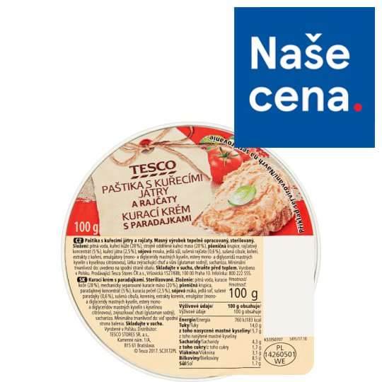 Tesco Pate with Chicken Livers and Tomatoes 100g