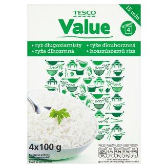 Tesco Value Rýže dlouhozrnná loupaná ve varných sáčcích 4 x 100g