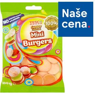 Tesco Candy Carnival Mini burgers želé s ovocnou příchutí s koncentrovanou hroznovou šťávou 100g