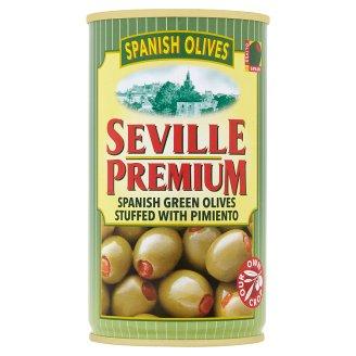 Seville Premium Zelené španělské olivy plněné paprikovou pastou 350g