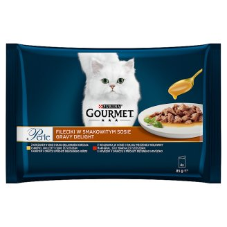 GOURMET Perle Gravy Delight Multipack s kuřetem a s hovězím v ochucených omáčkách 4 x 85g