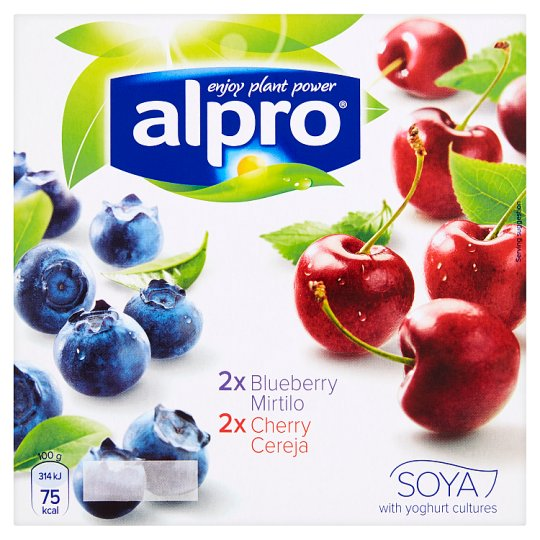Alpro Fermented Soya Product with Youghurt Cultures  Blueberry and Cherry Flavour 4 x 125g