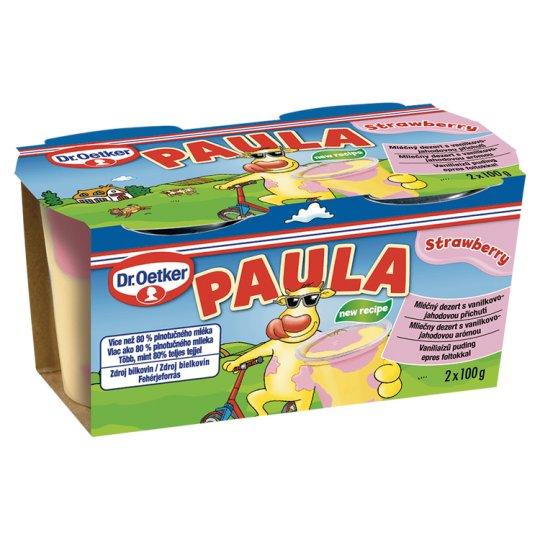 Dr. Oetker Paula Mléčný dezert s vanilkovo-jahodovou příchutí 2 x 100g