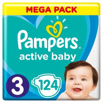 Pampers Active Baby Size 3, 124 Nappies, 6-10kg