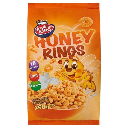 Breakfast King Obilné kroužky s medem, s vitaminy, vápníkem a železem 250g