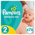Pampers New Baby-Dry Dětské Plenky Velikost 2 (Mini), 76 ks