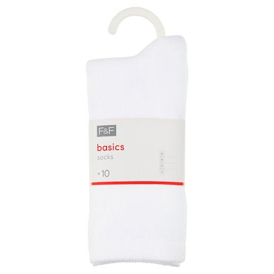 image 1 of F&F Basics Women's Basic White Ankle Socks 10 pcs in Pack, M-L, White