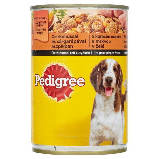 Pedigree Kompletní krmivo pro dospělé psy s kuřecím masem a mrkví v želé 400g
