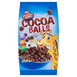 Breakfast King Obilné kakaové kuličky s vitaminy, vápníkem a železem 250g