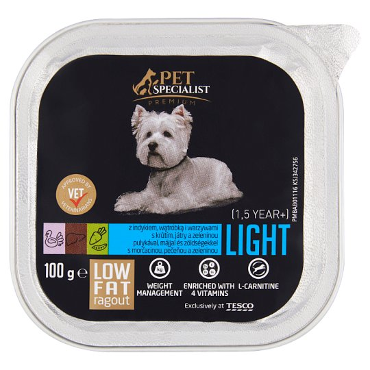 Tesco Pet Specialist Premium Light Ragout with Turkey, Liver and Vegetables 100g