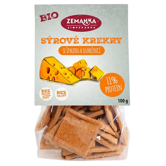 Biopekárna Zemanka Spelled Organic Crackers with Cheese and Sunflower 100g