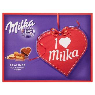 Milka I love milka bonbony z mléčné čokolády mandlovou náplní a kousky lískových ořechů 110g