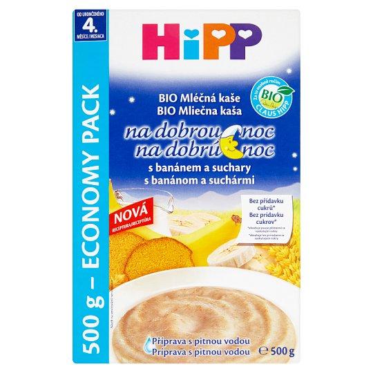 HiPP Bio mléčná kaše na dobrou noc s banánem a suchary od ukončeného 4. měsíce 2 x 250g