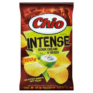 Chio Intense Smažené bramborové lupínky s příchutí zakysané smetany a bylinek 100g
