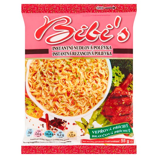 Bibi's Instant Noodle Soup Mix with Pork Flavour 55g