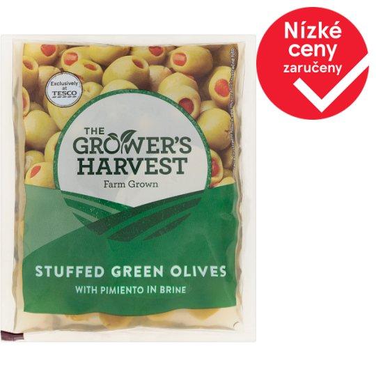 The Grower's Harvest Zelené olivy plněné paprikovou pastou ve slaném nálevu 195g