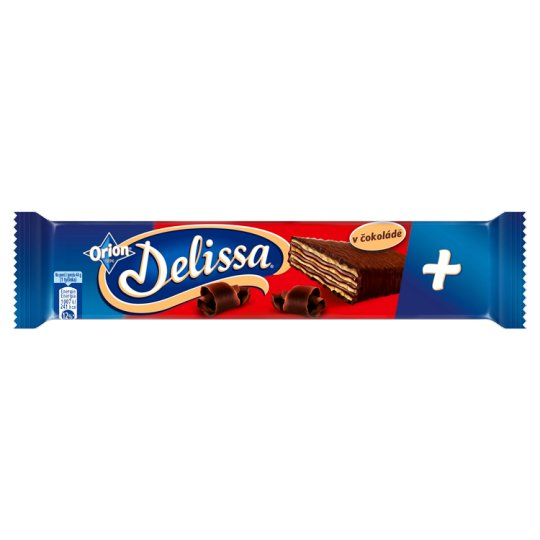 ORION Delissa Plus Wafer with Cocoa Filling Dipped in Bitter Chocolate 44g