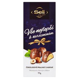 Seli Vše nejlepší k narozeninám čokoládové pralinky s náplní Weinbrand a lískovým oříškem 95g