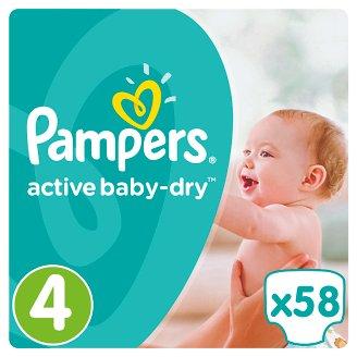 Pampers Active Baby-Dry Dětské Plenky Velikost 4 (Maxi), 58 ks