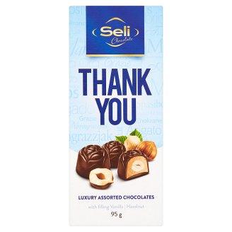 Seli Thank You kolekce pralinek z mléčné čokolády s lískovými ořechy a s příchutí vanilla 95g
