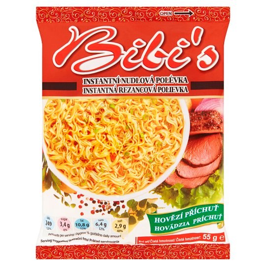 Bibi's Instant Noodle Soup Mix with Beef Flavour 55g