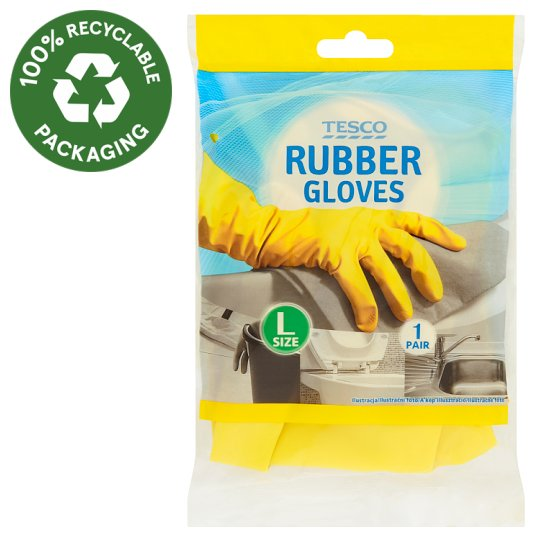 Tesco Rubber Gloves Size L 1 Pair