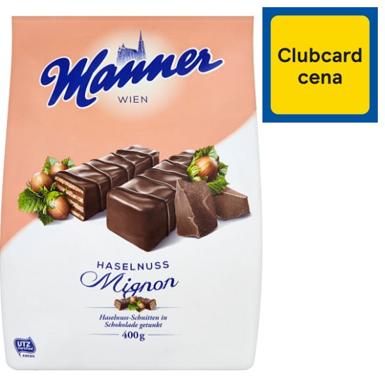 Manner Hazelnut Creme Filled Wafers Coated with Plain Chocolate 400g