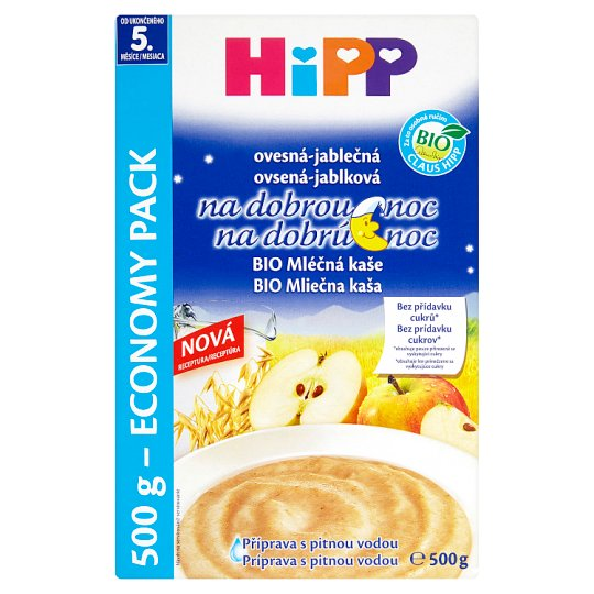 HiPP Organic Milk Porridge Goodnight Oatmeal-Apple from the Finished 5th Month 2 x 250g