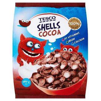 Tesco Obilné mušličky kakaové s vitaminy a minerálními látkami 450g
