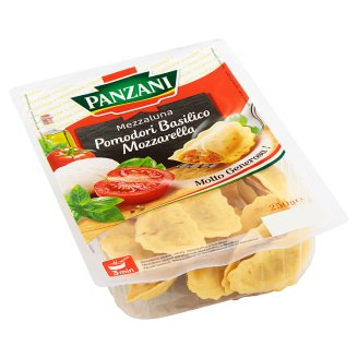 Panzani Mezzaluna plněné rajčaty, mozzarellou a bazalkou 250g
