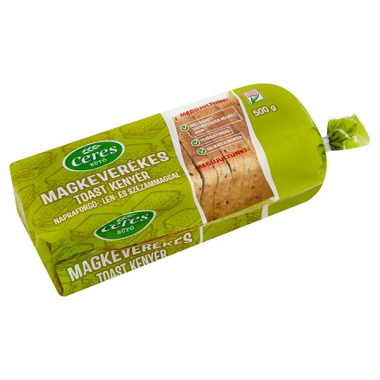 Ceres Sütő Multi-Grain Toast Bread, Sunflower Seed, Linseed, Sesame Seed 500 g