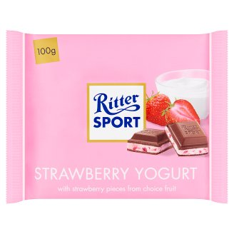 Ritter Sport Strawberry Flavoured Milk Chocolate Filled with Yoghurt Cream and Rice Flakes 100 g