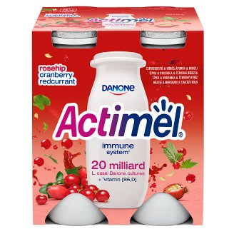 Danone Actimel Low-Fat Cranberry and Red Currant Flavoured Yoghurt Drink with Live Culture 4 x 100 g