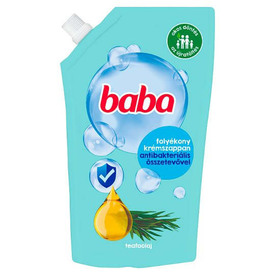 Baba folyékony szappan utántöltő antibakteriális hatású teafaolajjal 500 ml