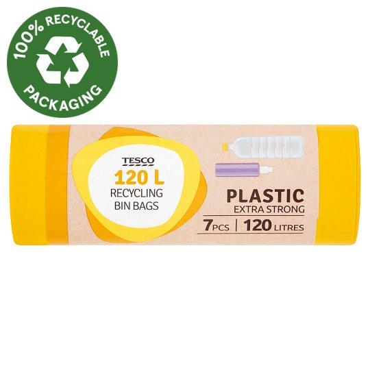 Tesco Plastic Extra Strong Recycling Bin Bags 120 l 7 pcs