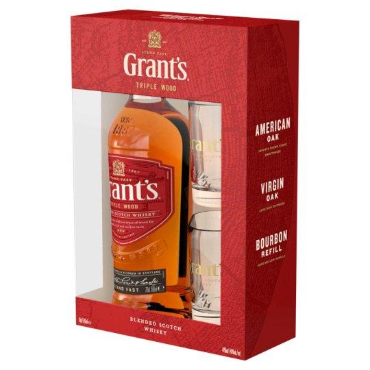 Grant's skót whisky díszdobozban 2 pohárral 40% 0,7 l